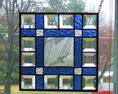 Beveled and Blue Stained Glass Suncatcher