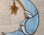 The Blue Man in The Moon with Star. Stained Glass