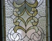 Elegant Victorian Flair Large Stained Glass Window Panel Handcrafted in Ivory and Clear Textured Glass