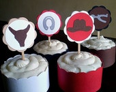 Cowboy Party Cupcake Toppers, Cowboy Cupcake Toppers, Cowboy Birthday Party, Cowboy Baby Shower, Western Cupcake Toppers, Boy, Set of 12