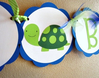Turtle Party Banner, Turtle Birthday Banner, Turtle Shower Banner, Turtle 1st Birthday Party Banner, Baby Shower Banner, Turtle Banner
