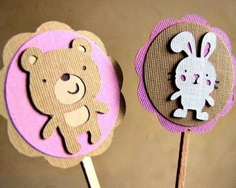 Build A Bear Party Cupcake Toppers, Build A Bear Workshop Party, Bear and Bunny Cupcake Toppers, Bear Party Cupcake Toppers, Set of 12