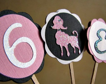 Pink Poodle Party Cupcake Toppers, Poodle Party Cupcake Toppers, Pink Poodle Party, Pink Poodle Shower, Poodle in Paris Party, Set of 12