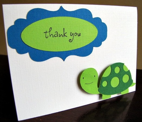 Turtle Party Thank You Cards, Turtle Birthday Party Thank You Card Set, Turtle Birthday Party, Turtle Baby Shower, Thank You Card, Set of 10