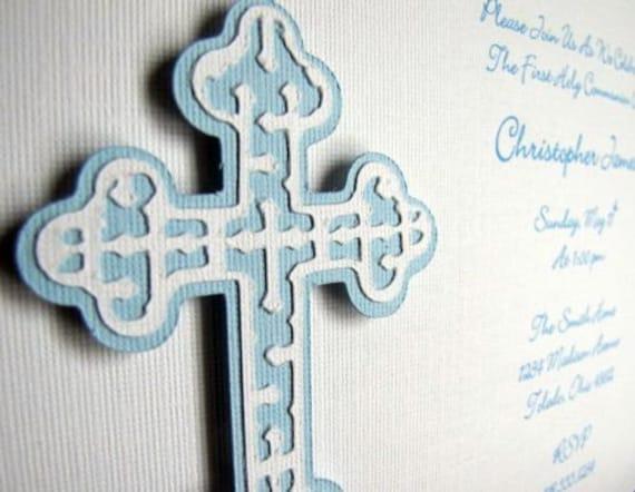 Baptism Invitation / First Communion - Blue Cross - Reserved for KFERRA02