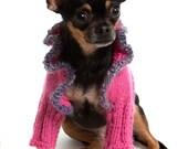 Deep Pink Dog Sweater Shrug with Heather Purple Trim at neck