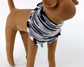 White/Black/Gray Crocheted Dog Bandana