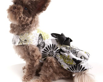 Dog Dress with Flowers and Butterflies