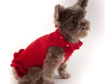 Red Pullover Dog Sweater Dress with faux pearls at neck