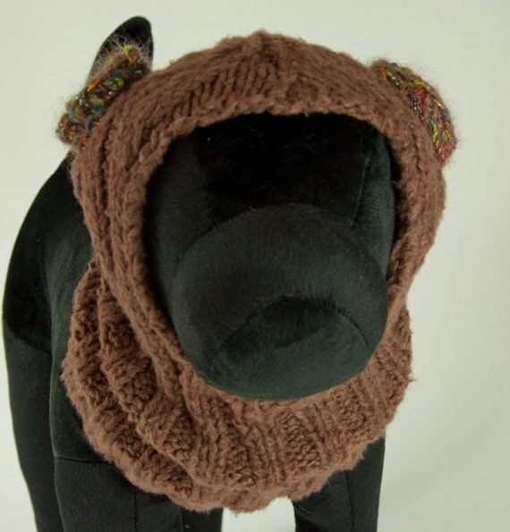 Knitting Patterns For Dogs Hats : Brown Bamboo Spun Knit Dog Hat with ear muffs