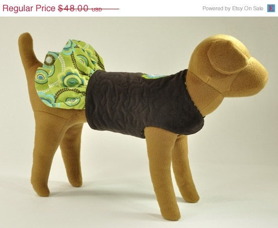 ON SALE Brown Dog Jacket Coat with embroidered flower on back and flowered skirt