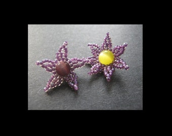 Beaded Bead Tutorial. Starfish and Flower Brick Stitch Beads Instructions for Personal Use