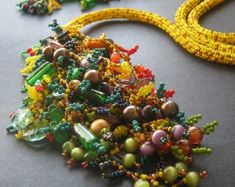 Cornucopia Statement Necklace. Yellow Corn Beaded Rope Lariat with Colorful Bead Fruit and Vegetable Fringe