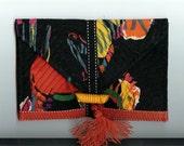 Quilted Purse Handbag Clutch Vintage Bakelite Button Silky Tassel Italian Imported Silk Hand Made Cracchiolo Design