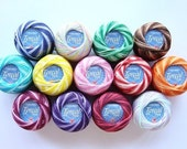 Lot 12 Variegated balls size 5 perle pearl cotton threads for needlepoint cross stitch hardanger hand embroidery crochet - richipy