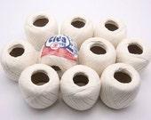 Lot 10 ecru natural balls size 10 crochet cotton threads yarn knitting Clea new - richipy