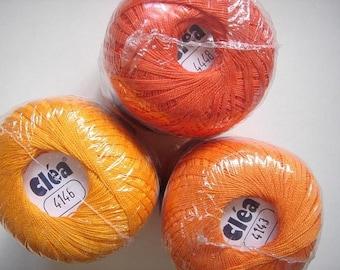 3 Shades burnt bright orange tangerine size 10 crochet cotton threads yarn - clea - free ship - richipy