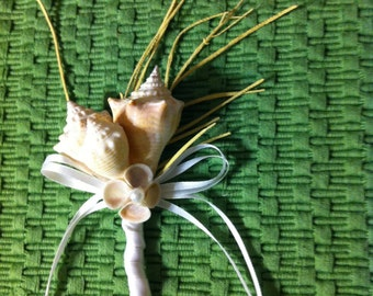 Seashell Beach Destination Wedding Sea Shell Boutonniere / Corsage