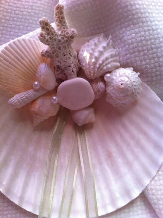 "Reserved for Kadi Sea Shell Ring Bearer Pillow  ""Coral Pearl"" Seashell Beach Destination Wedding"