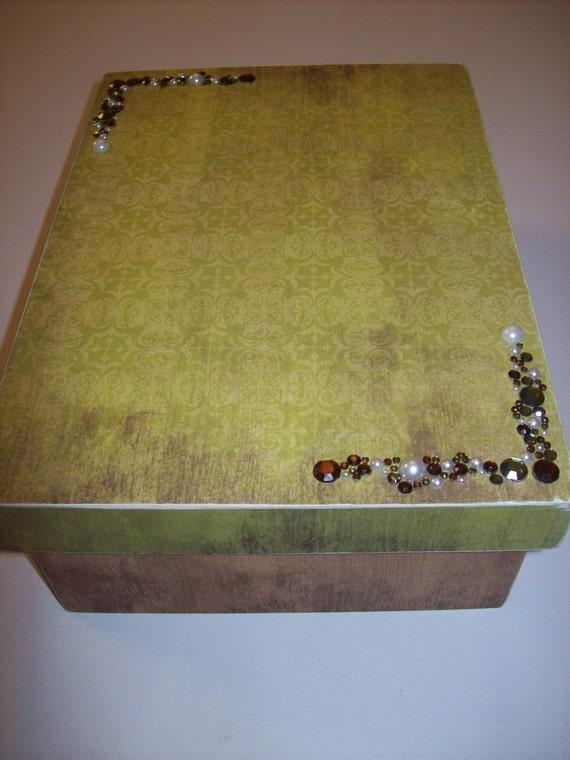 Jeweled Wooden Keepsake/Memory Box