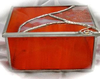 red glass trinket box