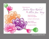 Printable Custom Peony Invitation 5x7 You Print PDF