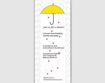 Love Rain Heart Invitations 3.75 x 9 inch