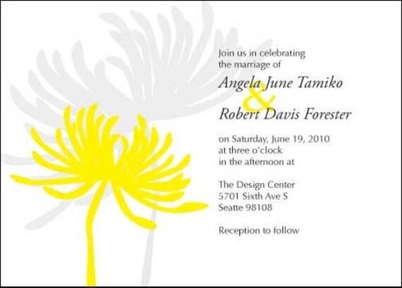 Printable Chrysanthemum Wedding Invitation - 5x7 You Print PDF
