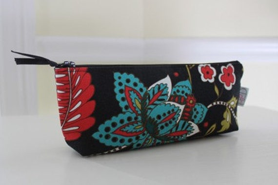 Pencil pouch, Lipstick case, Makeup bag - Red, Teal, and Green Floral on Black
