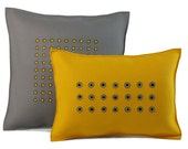 Felt Pillow in Gray and Yellow