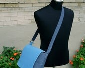 Messenger/Tote in Light and Dark Blue - SALE