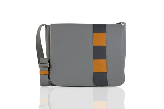 SALE - Gray and Gold Laptop/Brief Case/Messenger Bag - Free Shipping