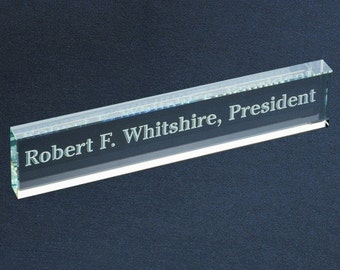Personalized Glass Name Bar - Laser Engraved