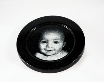 Personalized Black Marble Coaster Set - Laser Engraved with Your Photos