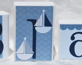 Nautical Baby Block Letters . Blue and White . Blake