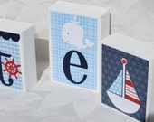Nautical Baby Block Letters . Blue and White with Red . Nate