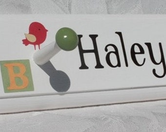 Personalized Children's Coat Hooks . M2M Alphabet Soup . Coat Rack . Wall Pegs . Haley