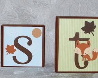 Personalized Baby Name Block Letters . Forest Friends . Easton