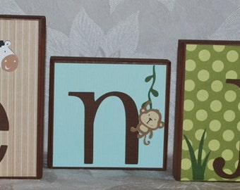 Jungle Baby Shower Decoration . LARGE Name Blocks . Balulu . Benjamin