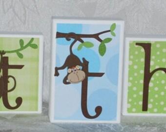 Personalized Baby Name Blocks . Monkey Time. Matthew