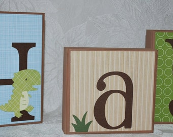 Large Personalized Baby Name Blocks . Adorable Dinos . Hayden