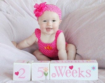 DELUXE DESIGN . Baby Age Blocks . Photo Blocks . Personalized Blocks . Age Cubes