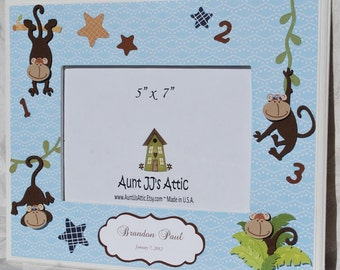 5x7 Personalized Picture Frame .  Monkey Mania . Monkey Play . Jungle . Zoo