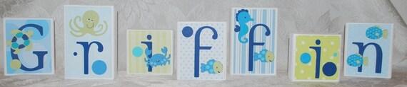 Baby Shower Decoration . Wood Block Letters . Bubbles . Griffin