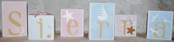 Surf Beach Ocean Cape Cod Starfish Nautical Wooden Personalized Baby Name Blocks for Nursery or Baby Shower