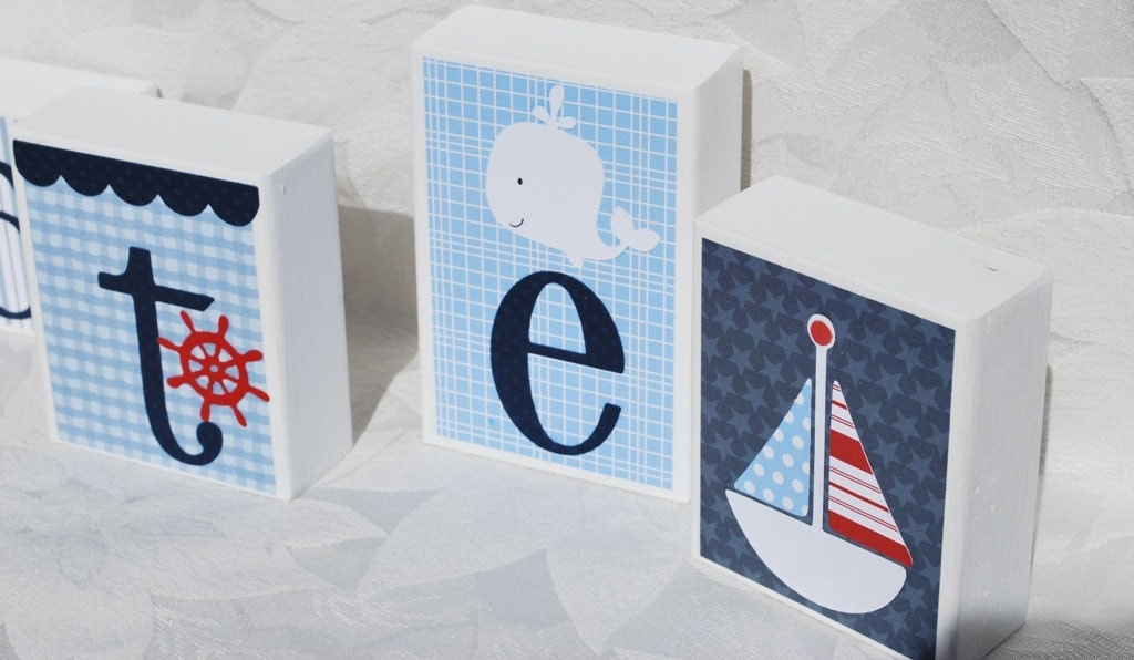 Nautical Baby Block Letters Blue And White With By