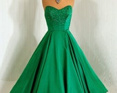 1950's Vintage Emerald-Green Shimmer Silk-Satin Couture Rhinestone-Sparkle Sweetheart Low-Cut Strapless Rockabilly Princess Circle-Skirt Holiday Bombshell Wedding Party Cocktail Dress