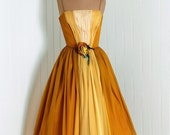 1950's Vintage Marigold-Yellow and Ivory Ombre-Gradient Ruched Silk-Chiffon Couture Thin-Strap Plunge Nipped-Waist Rockabilly Ballerina-Cupcake Princess Rose-Floral Applique Full-Skirt Bombshell Garden Wedding Formal Evening Cocktail Party Dress