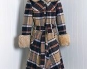 Reserved for Lee 1960's Vintage Carmel-Tan Plaid Print-Wool & Faux-Fur Couture Hooded Russian Princess Mod Full-Skirt Dress-Jacket Coat