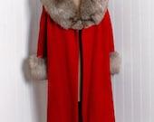 1950's Vintage Lilli Ann Designer-Couture Fiery Ruby-Red Wool & Genuine Fox-Fur Bombshell Side-Pockets Rockabilly Swing Dress-Jacket Coat